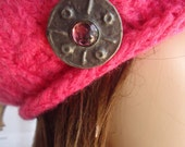 pink vintage wool felted tam with arts and crafts brooch by irish granny