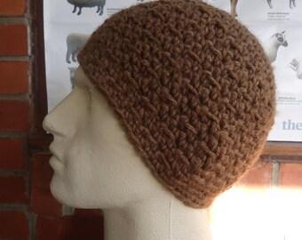 LARGE soft brown wool crochet hat cap for men handmade by Irish granny