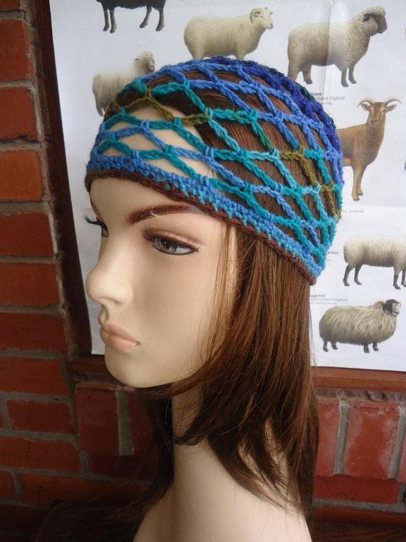 ABBA blue brown turquoise crochet mesh fine wool cap by irish granny