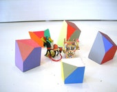 reserved for rosie - set of 5 unique - wooden hand painted color gems -