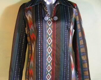 M 60s 70s Mod Western Southwest Shirt Trego Westwear Jersey Vintage Mad Men