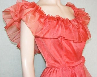 XS 60s 70s  Red Formal Gown Romantic Ruffled Swag Prom Dress Dramatic Soft Red Paprika Mad Men