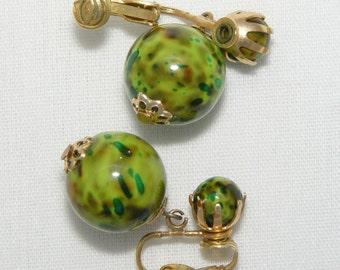 60s Round Sphere Dangle Earrings Plastic Clip Earrings Dappled Green Speckled Splattered Mottled Marked Hong Kong