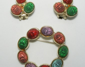 60S Scarab Pin Earrings Set Demi Multi-color Engraved Green Red Pale Blue Salmon Pink and Lavender Plastic Clip Earings