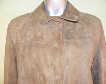 M L 70s Vintage Soft Suede Leather Jacket Light Brown Snaps