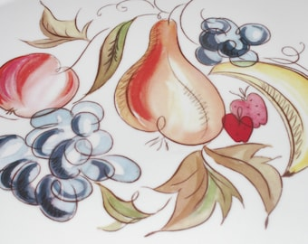 "Vintage MCM Kenro Painted Plastic Platter Fruit 20"""