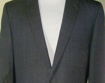40 60s Vintage Hart Schaffner Marx Suit Tiny Check Blue Charcoal Gold Sheen