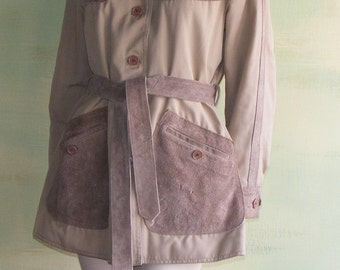 M 70s Suede Leather Khaki Canvas Jacket The Traveler Taiwan R.O.C. Western Safari Quilted Lining