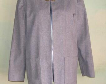 M Vintage 40s Cotton Chenille Jacket Herringbone Beige Taupe Shrug