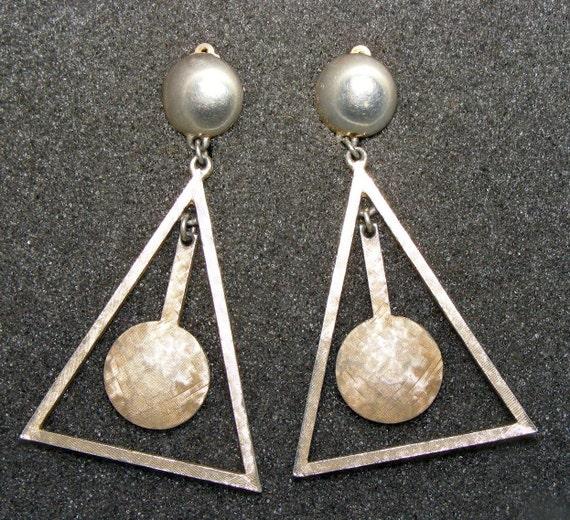 80s Big Pendulum Triangle Earrings Geometric Steel Dangles Vintage