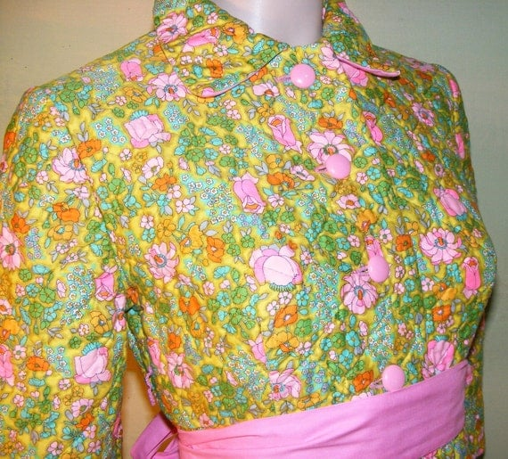 32 Bust Juniors Teen Vintage Lanz Quilted Robe Cotton Floral Calico