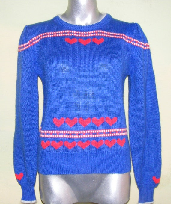 L  Angora Sweater Red Blue White Hearts Annie Rose  Never worn Vintage NOS