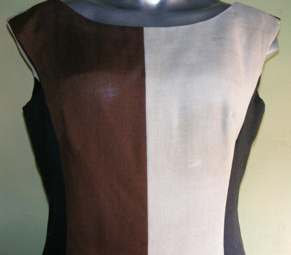 L 50s 60s Color Block Linen Dress Brown Black Cream Curvy Sexy 38/40 bust