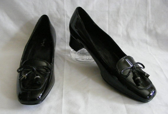 8 M Black Patent Leather Spiegel Shoes Square Toe Low Heel Tassels NWB Vintage Pumps