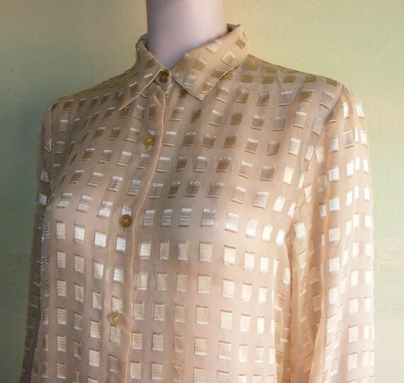 M Sheer Gold Ribbon Blouse Joanna Vintage 70s 80s Metallic Dressy Evening Formal Glam