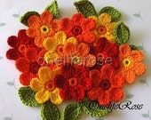 Crochet Flowers set 12 pieces with 12 leaves