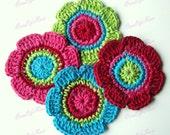 Crochet Flowers Applique 4  pieces