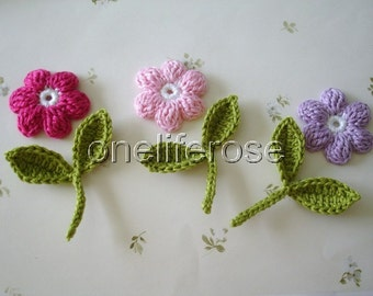 Crochet flowers and  Leaves with stems