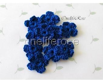 15 pieces Mini Crochet Flowers ROYAL BLUE (00201)