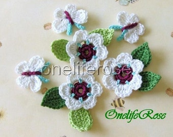 Crochet Butterflys and Flowers