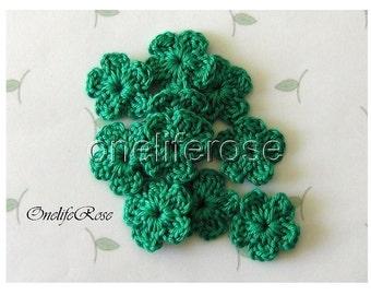 15 pcs. Mini Crochet Flowers GREENSS Golfgreen