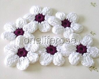 Crochet Flowers 6 pieces White-Darkviolet