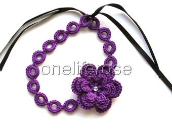 DarkViolet Crochet Choker  with 3D Flower