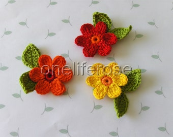 Crochet Flowers  HOT COLORS