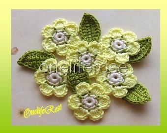 Crochet  Flowers  (Lemon Yellow)