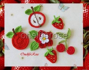 Fruits Market ----- 8 pieces crochet applique