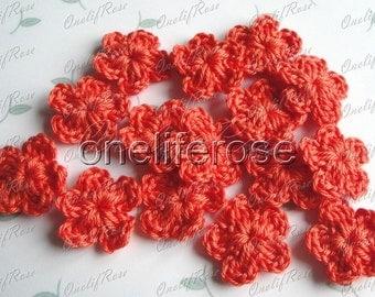 15 pieces Mini Crochet Flowers Camellia or darksalmon(00252)
