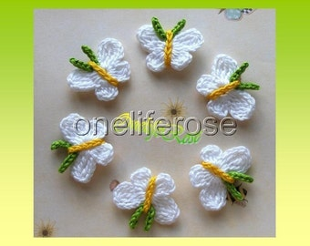 6 Pieces Butterflys/White