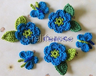 Crochet Butterflys and Flowers