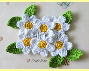 Crochet Flowers White-SunYellow