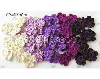 25 pieces Mini Crochet Flowers Violet Mix