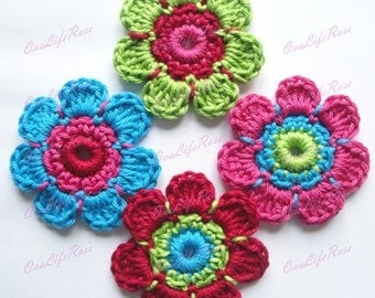 Crochet Flowers 4 pieces