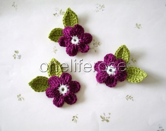 Crochet Flowers 9 pieces