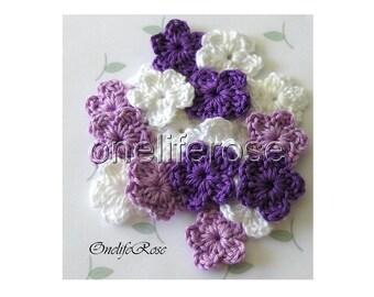 15 pcs Mini Crochet Flowers VIOLETSS