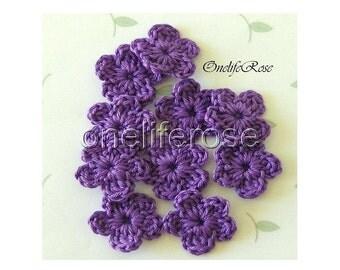 15 pcs. Mini Crochet Flowers VIOLETSS Violet