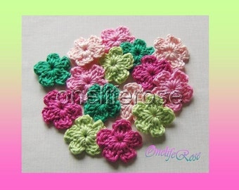 Crochet Flowers 15 pieces Mini