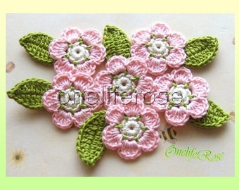 6 pieces Three-Color Flowers with leaves (baby Pink)