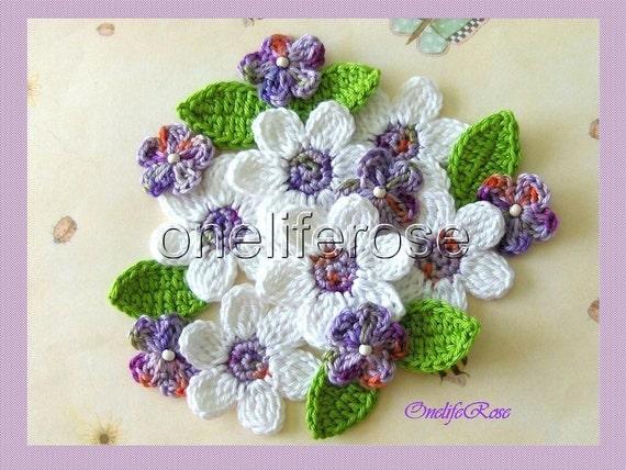 Crochet Flowers White-Purple-Violet mix