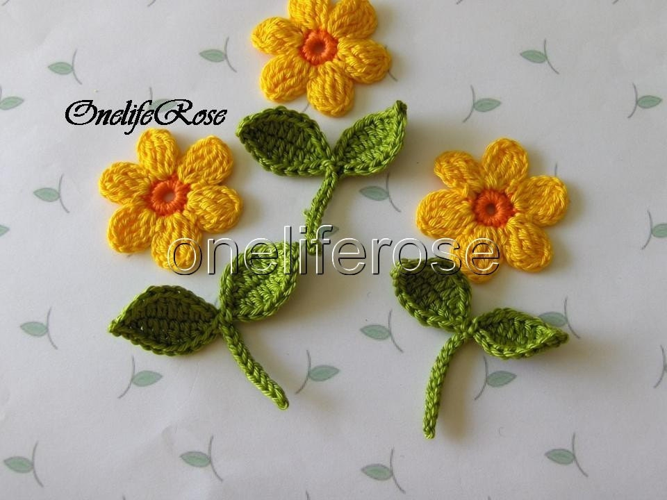 Crochet flowers leaves with stems