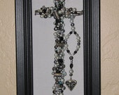 BLESSED BLACK and SILVER Hand Beaded Cross Framed Wall Hanging