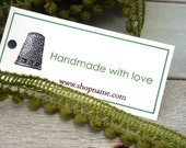 Custom Labels, Thimble,  Hang Tags, Personalized, Gift Tags, Promotional,  Business cards, Labels, Product Packaging --SET OF 50