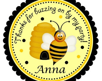 Bumble Bee Stickers ,Seals,Bumble Bee Favor Stickers or GIFT TAGS - set of 12