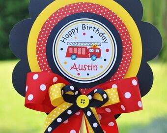 Firetruck Luxurious  Birthday Centerpiece, Firetruck Birthday Party