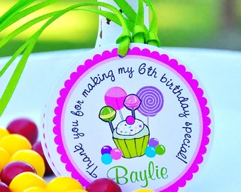 Candyland Hang Tags,Personalized Cupcake Gift Tags, Candyland Birthday Party -  Set of 12