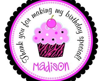Zebra Cupcake Stickers, Custom Zebra Labels, Personalized Stickers, Zebra Birthday Party --Set of 12