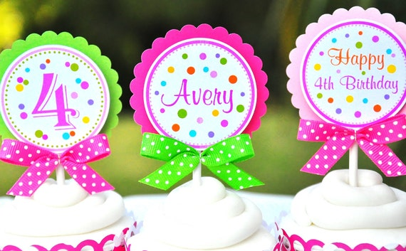 Polka Dot Cupcake Toppers with Bows  - Set of 12